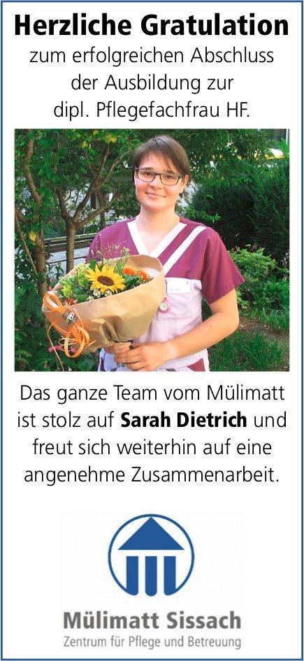 Mülimatt Sissach, Sarah Dietrich,  herzliche Gratulation zur erfolgreichen LAP