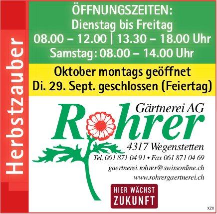 Rohrer Gärtnerei AG, Wegenstetten - Herbstzauber