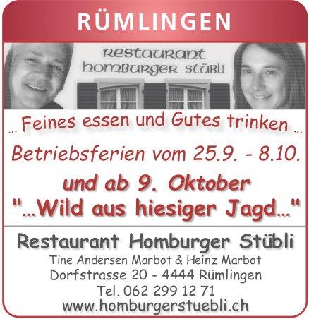 "Restaurant Homburger Stübli, Rümlingen - ""…Wild aus hiesiger Jagd…"""