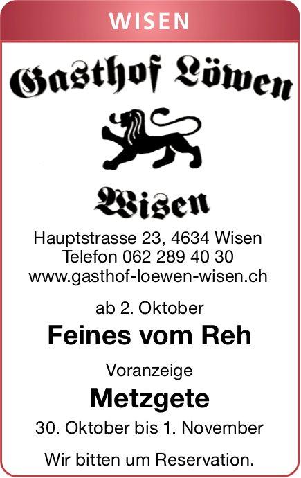 Gasthof Löwen in Wisen - Feines vom Reh