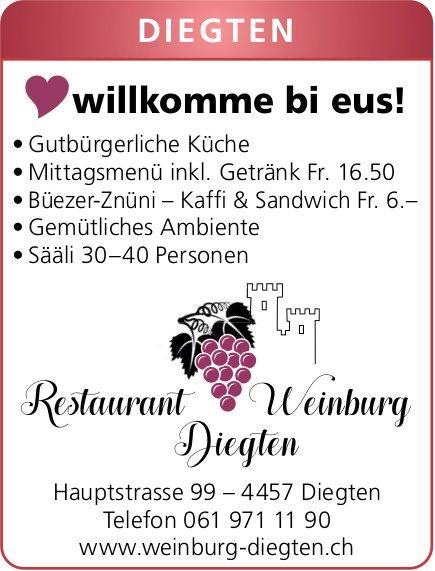 Restaurant Weinburg Diegten, gutbürgerliche Küche