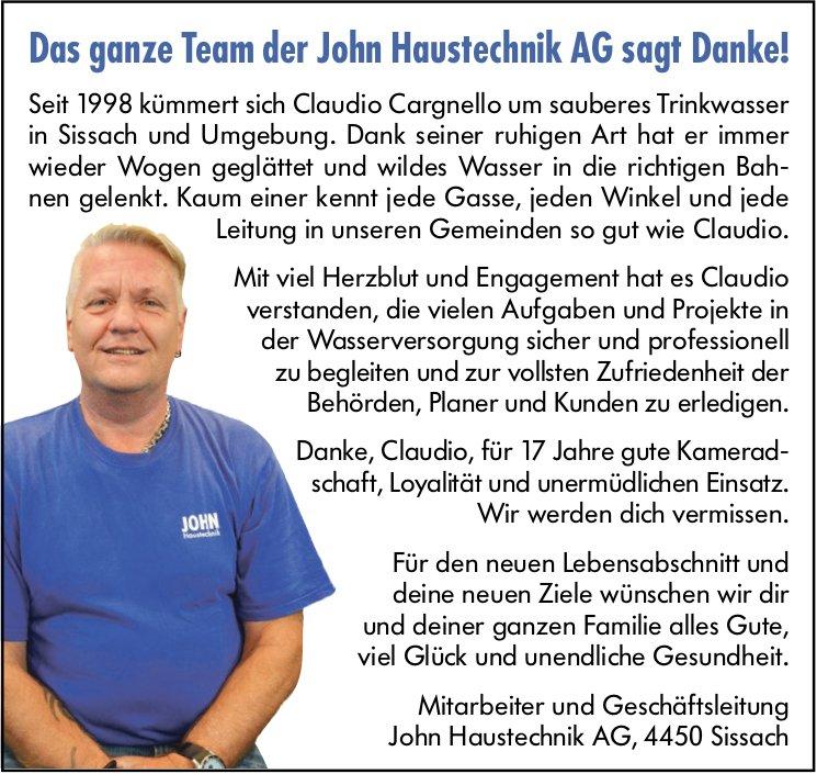 Das ganze Team der John Haustechnik AG sagt Danke!