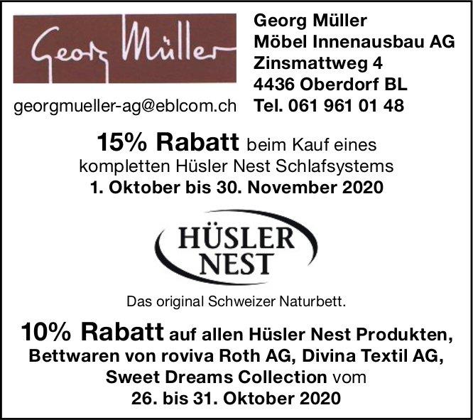 15% Rabatt, 1. Oktober bis 30. November, Georg Müller Möbel Innenausbau AG  Oberdorf BL