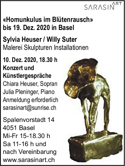 Sarasinart, Basel - «Homunkulus im Blütenrausch» bis 19. Dez. 2020 in Basel Sylvia Heuser / Willy Suter