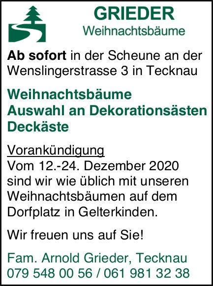 Arnold Grieder, Tecknau - Weihnachtsbäume