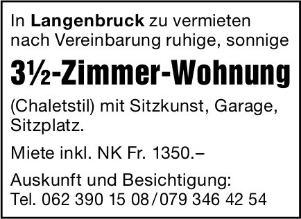 3.5-Zimmer-Wohnung, Langenbruck, zu vermieten