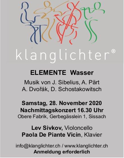 ELEMENTE Wasser - Konzert am 28. November, Sissach