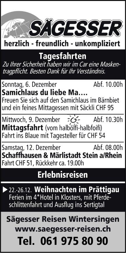 Sägesser Reisen Wintersingen, Reiseprogramm