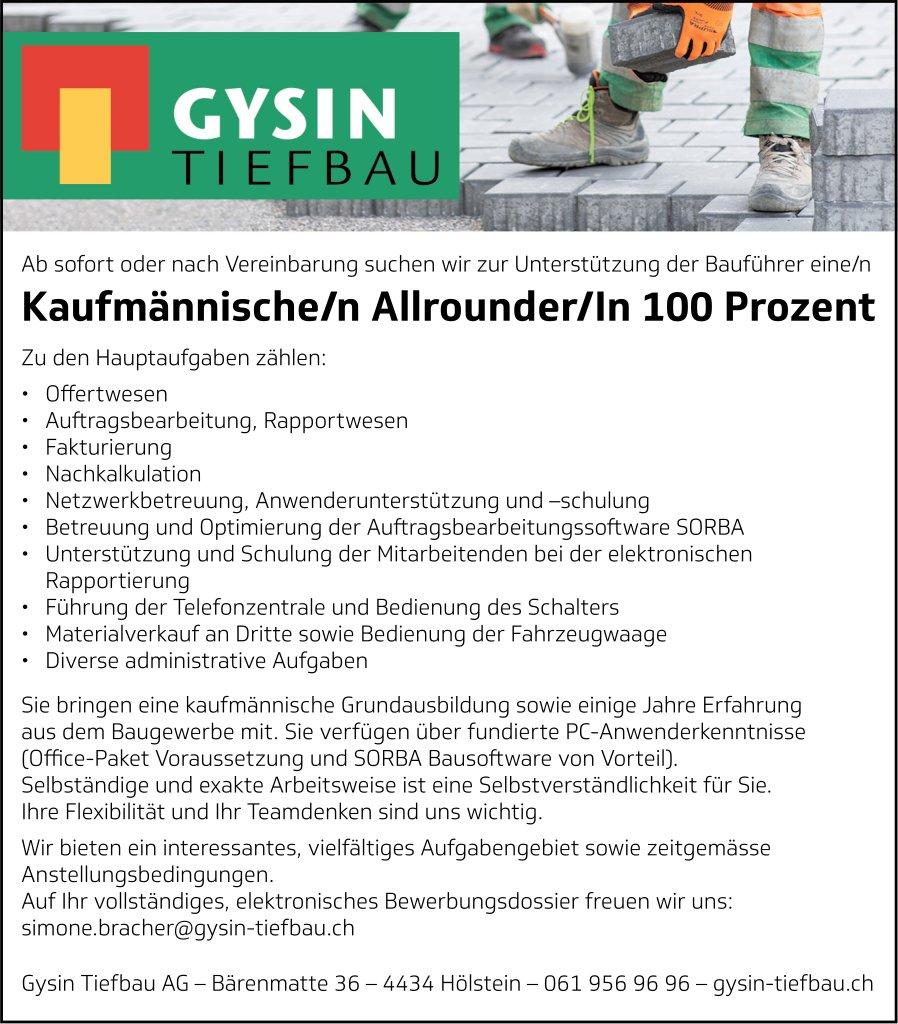 Kaufmännische/n Allrounder/In 100 %, Gysin Tiefbau AG, Hölstein, gesucht