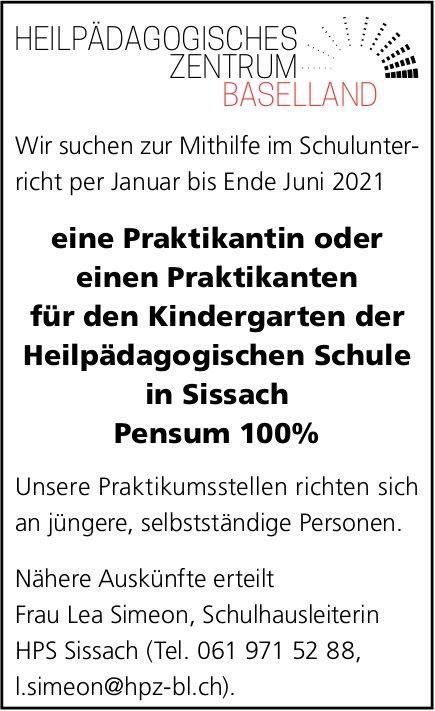Praktikant/-in 100%, Kindergarten Heilpädagogische Schule, Sissach, gesucht