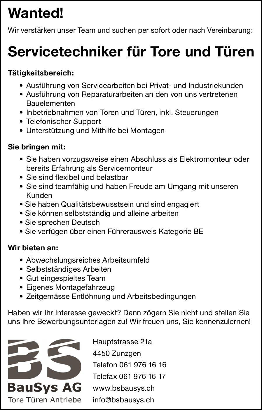 Servicetechniker für Tore und Türen, BauSys AG, Zunzgen, gesucht
