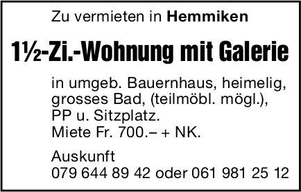 1.5-Zi.-Wohnung mit Galerie, Hemmiken, zu vermieten