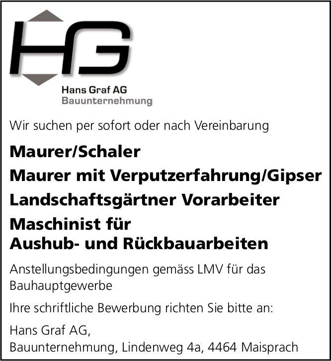 Maurer/Schaler, Maurer Verputzerfahrung/Gipser,  Landschaftsgärtner und Maschinist für Aushub- und Rückbauarbeiten, Hans Graf AG, Maisprach,  gesucht
