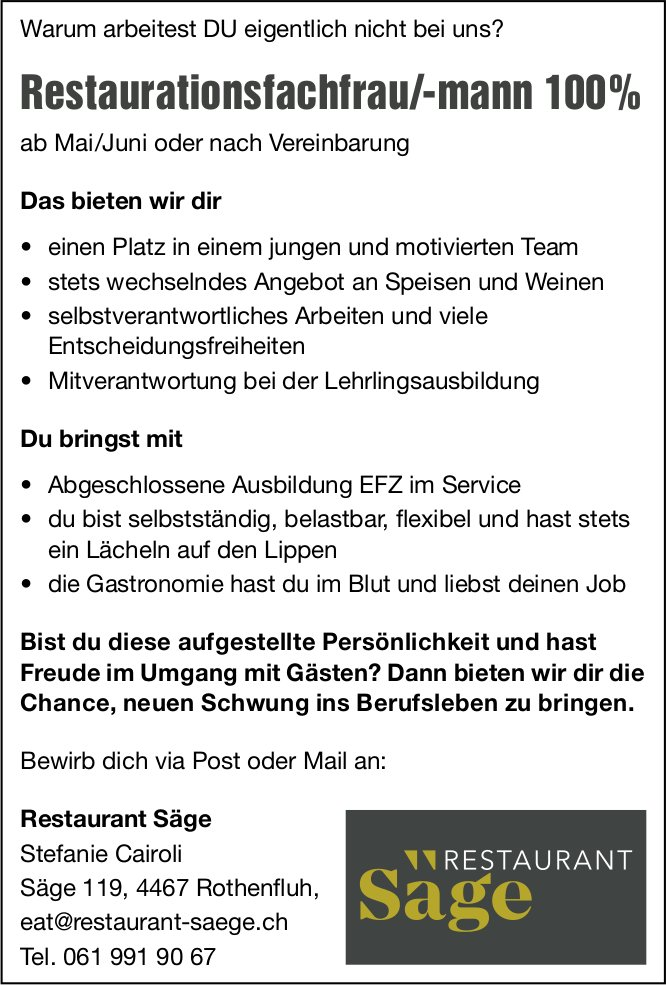 Restaurationsfachfrau/-mann 100%, Restaurant Säge, Rothenfluh, gesucht