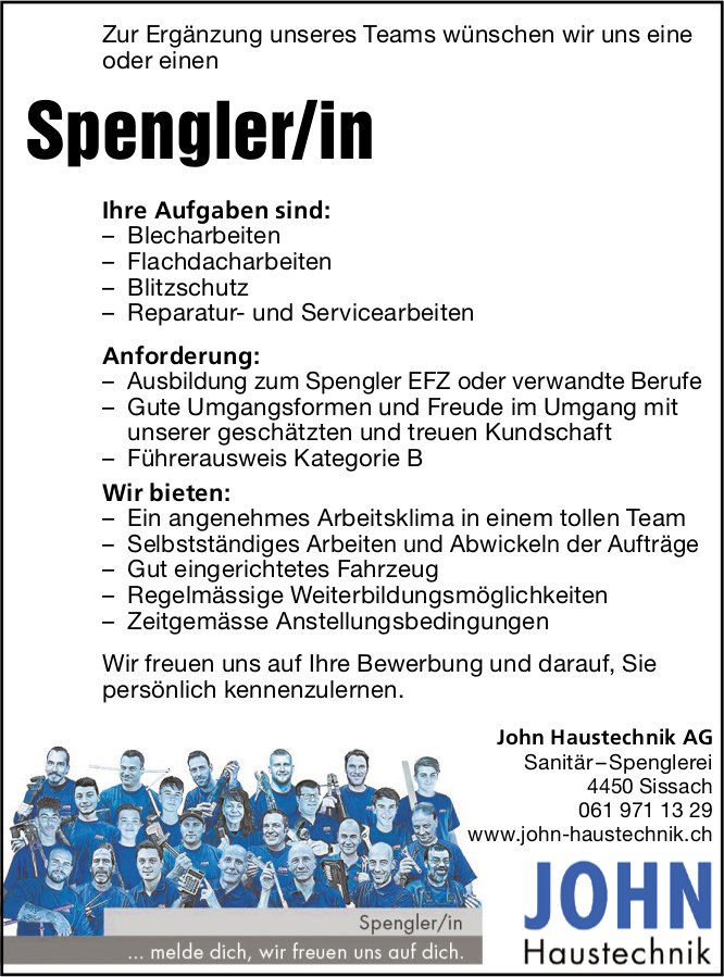 Spengler/in, John Haustechnik AG, Sissach, gesucht