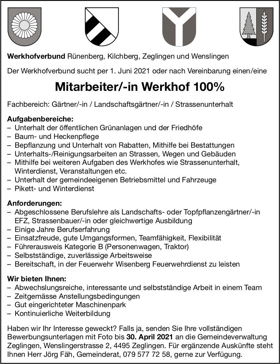 Mitarbeiter/-in Werkhof 100%, Werkhofverband Rünenberg, Kilchberg & Zeglingen, gesucht