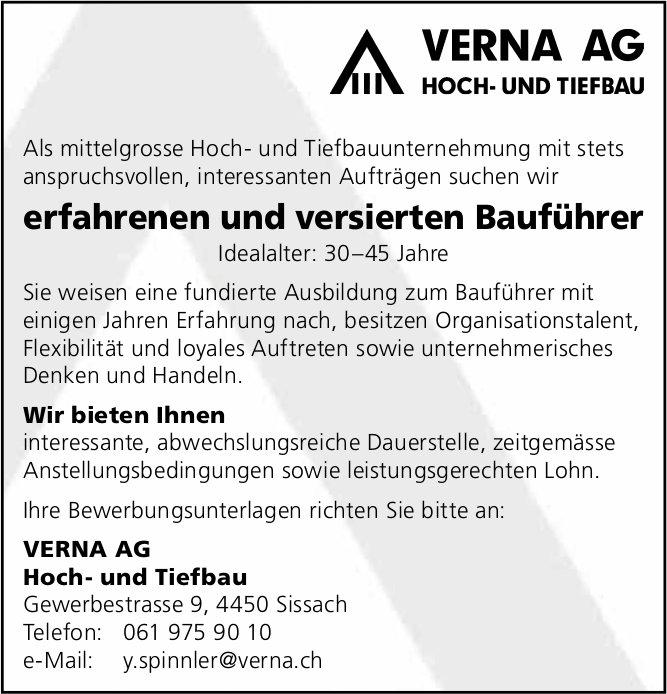 Erfahrenen und versierten Bauführer, VERNA AG, Sissach, gesucht