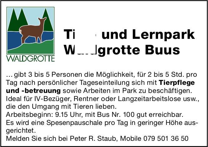 3 bis 5 Personen für Tierpflege und -betreuung sowie Arbeiten im Park zu beschäftigen, Tier- und Lernpark Waldgrotte Buus, gesucht