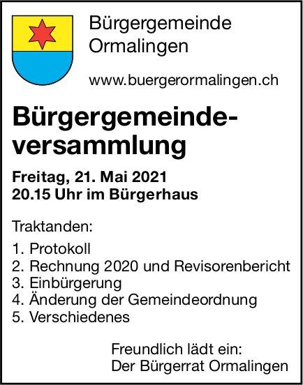Bürgergemeindeversammlung, 21. Mai, Bürgerhaus, Ormalingen