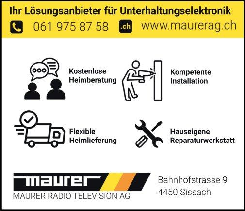 Maurer Radio Television AG, Sissach - Ihr Lösungsanbieter für Unterhaltungselektronik