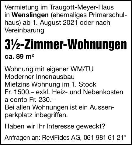 3.5-Zimmer-Wohnungen, Wenslingen, zu vermieten