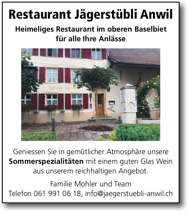 Restaurant Jägerstübli, Anwil - Sommerspezialitäten