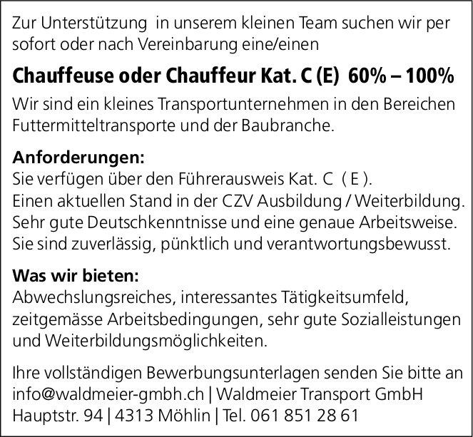 Chauffeuse oder Chauffeur Kat. C (E) 60% – 100%, Waldmeier Transport GmbH, Möhlin, gesucht