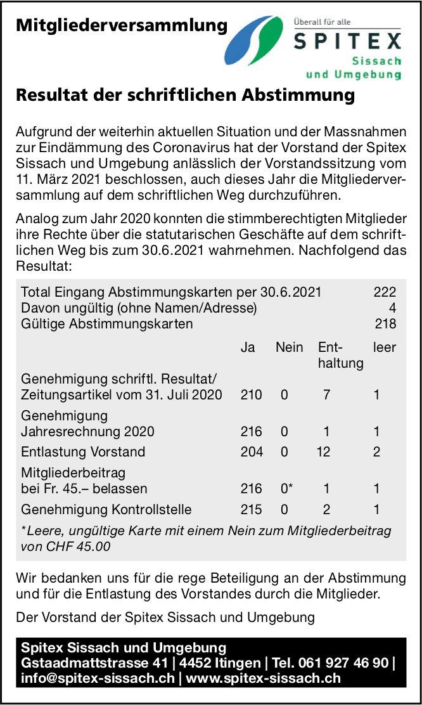 Mitgliederversammlung Spitex, Sissach und Umgebung - Resultat der schriftlichen Abstimmung