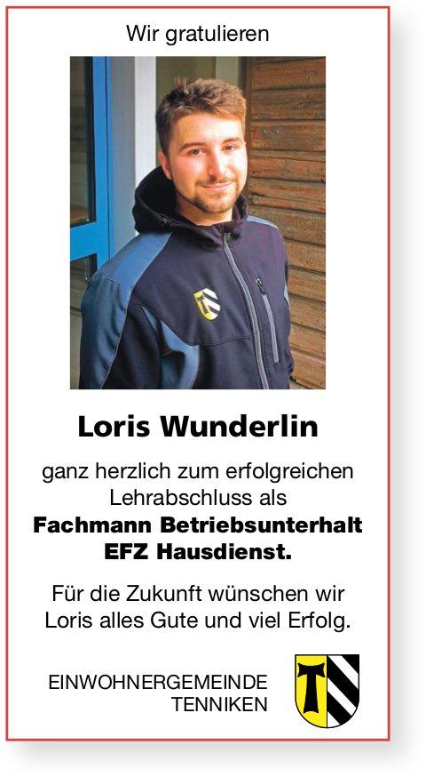 Gemeinde, Tenniken - Wir gratulieren Loris Wunderlin ganz herzlich zur erfolgreichen LAP