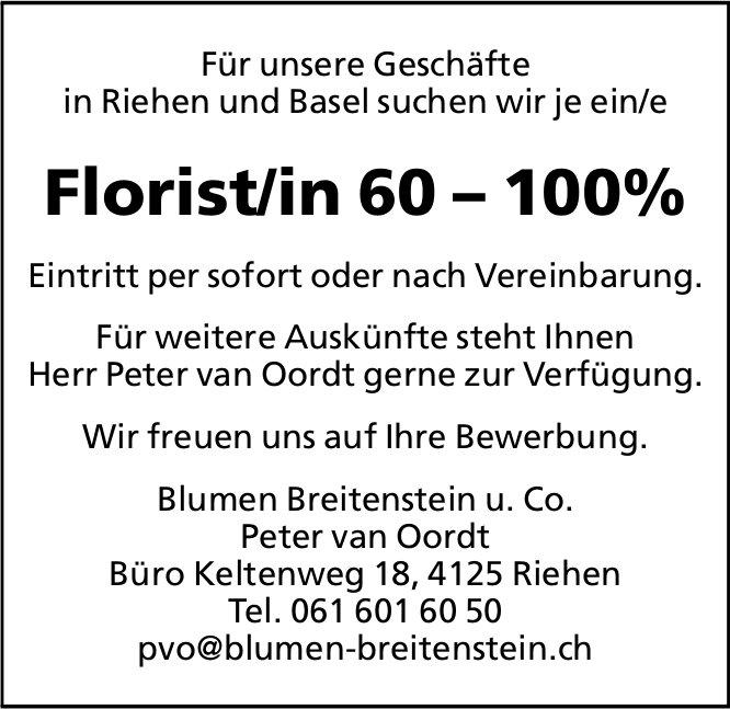 Florist/in, Blumen Breitenstein u. Co., Riehen, gesucht