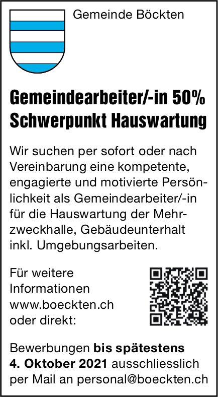 Gemeindearbeiter/-in 50% Schwerpunkt Hauswartung, Gemeinde Böckten, gesucht