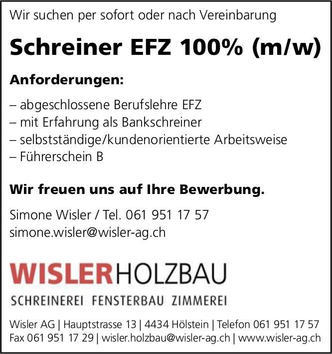 Schreiner EFZ 100% (m/w), Wisler AG, Holzbau, Hölstein,  gesucht