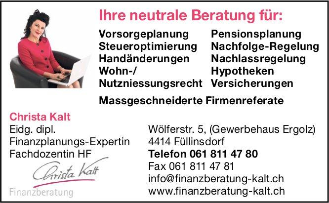 Christa Kalt, Füllinsdorf - Ihre neutrale Finanz Beratung