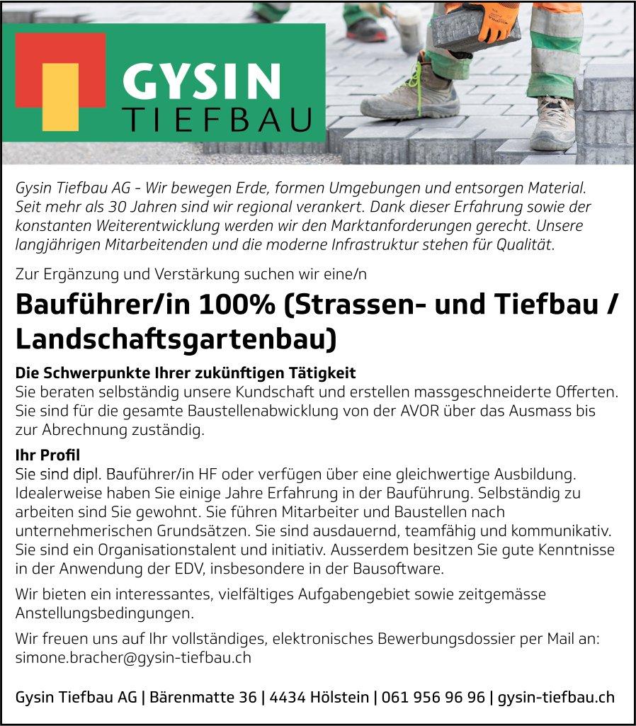Bauführer/in 100% (Strassen- und Tiefbau/Landschaftsgartenbau), Gysin Tiefbau AG, Hölstein, gesucht