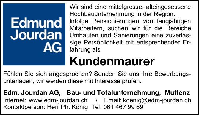 Kundenmaurer, Edm. Jourdan AG, Bau- und Totalunternehmung, Muttenz,  gesucht