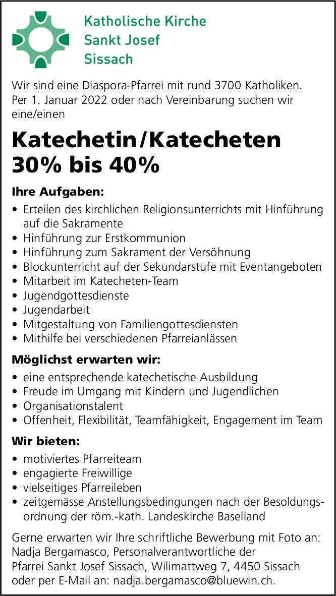 Katechetin / Katecheten 30% bis 40%, Kath. Kirche Sankt Josef, Sissach, gesucht