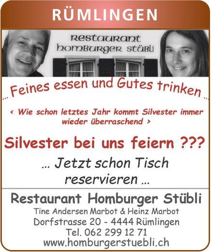 Restaurant Homburger Stübli, Rümlingen - Silvester bei uns feiern ??? ...jetzt schon Tisch reservieren...