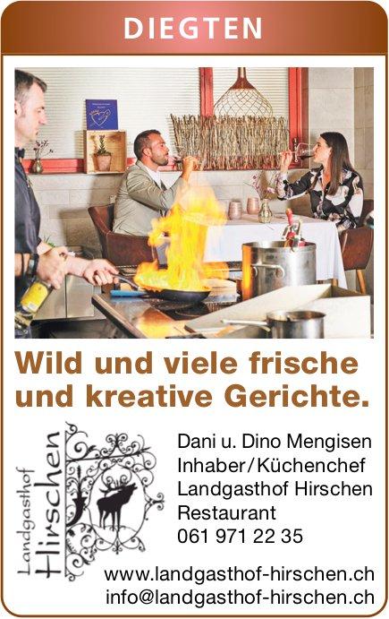 Landgasthof Hirschen, Diegten - Wild und viele frische und kreative Gerichte.