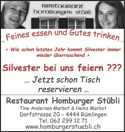 Restaurant Homburger Stübli, Rümlingen - Silvester bei uns feiern ??? .. Jetzt schon Tisch reservieren ...