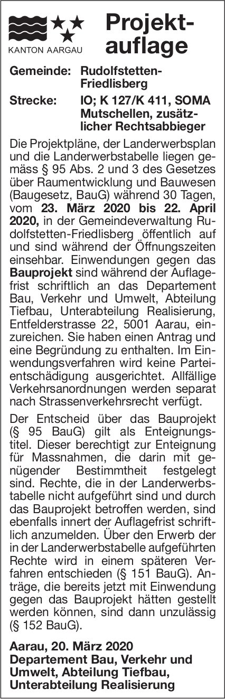 Projektauflage Rudolfstetten
