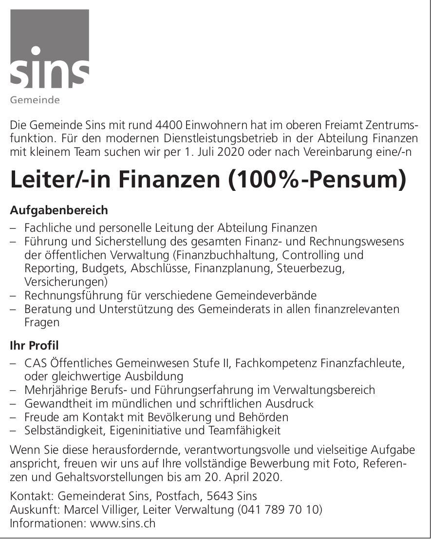 Leiter/-in Finanzen (100%-Pensum) gesucht