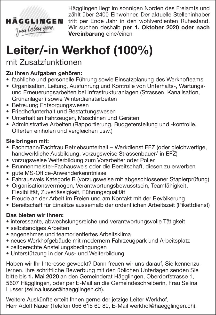 Leiter/-in Werkhof (100%) gesucht