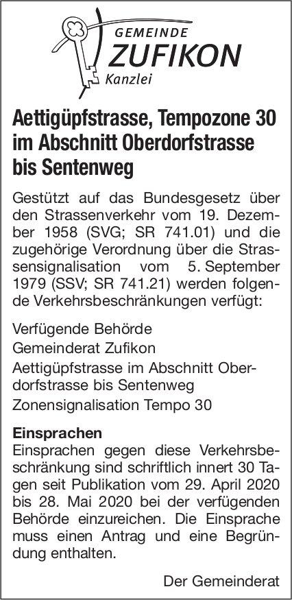 Aettigüpfstrasse, Tempozone 30 im Abschnitt Oberdorfstrasse bis Sentenweg - Gemeinde Zufikon