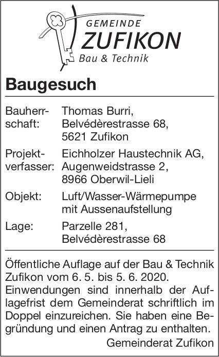 Gemeinde Zufikon - Baugesuch