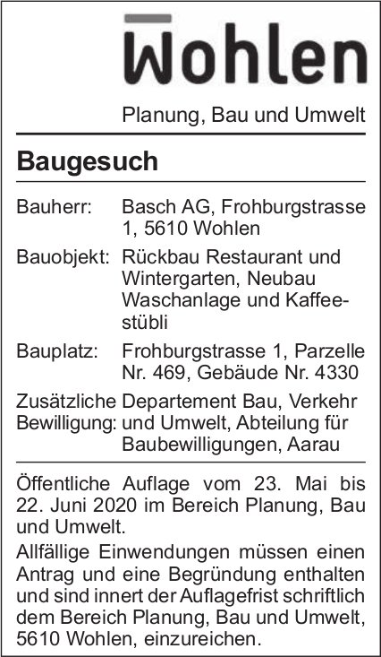 Gemeinde Wohlen - Baugesuch