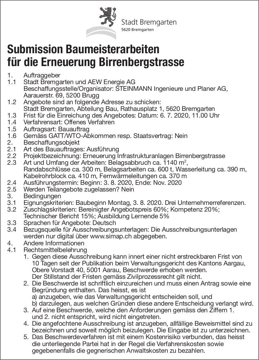 Submission Baumeisterarbeiten für die Erneuerung Birrenbergstrasse