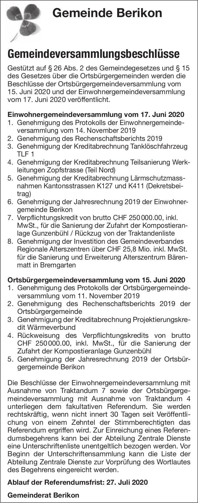 Gemeinde Berikon - Gemeindeversammlungsbeschlüsse
