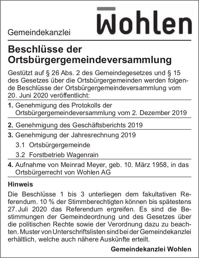 Beschlüsse der Ortsbürgergemeindeversammlung, Gemeinde Wohlen