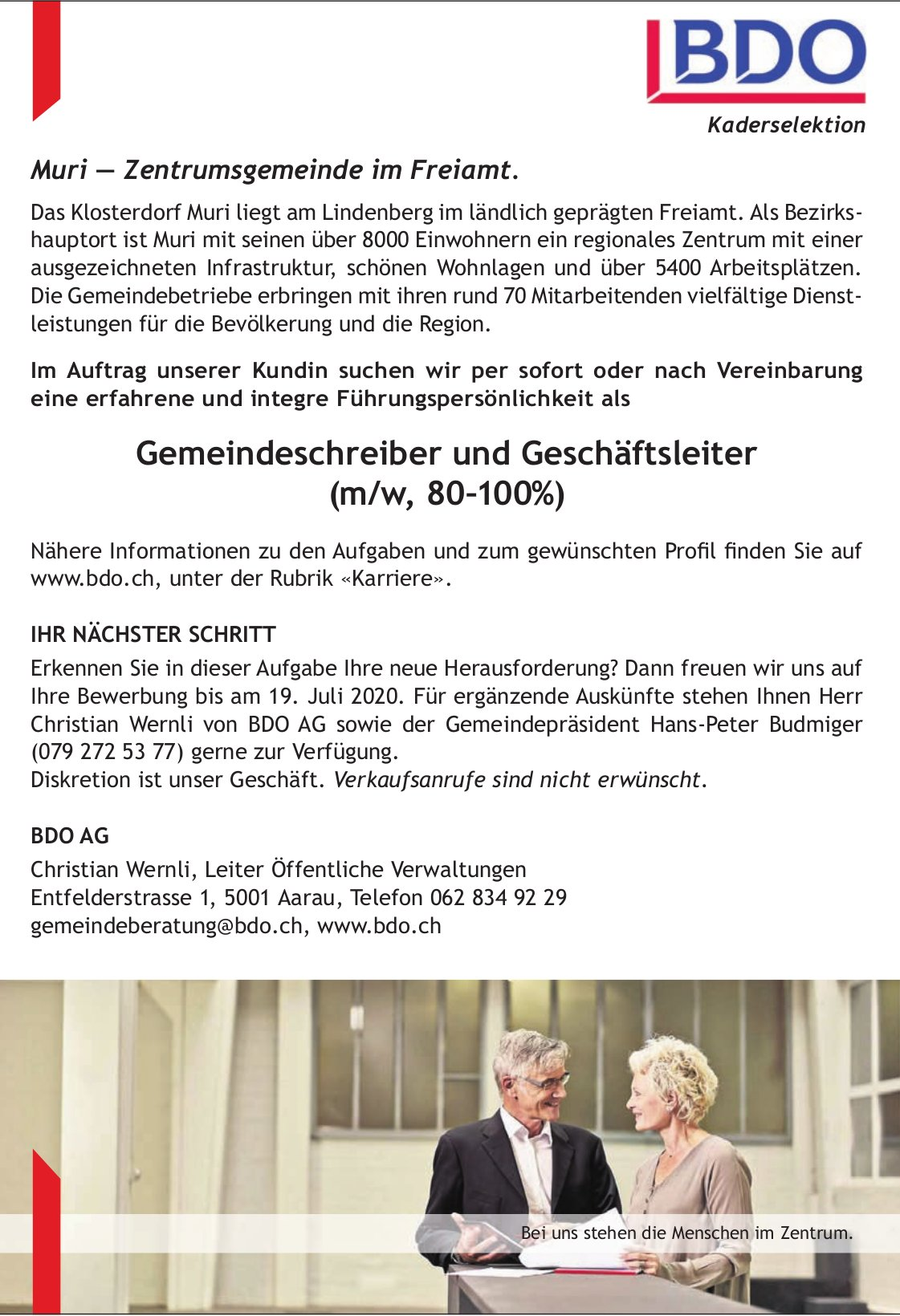 Gemeindeschreiber und Geschäftsleiter (m/w, 80–100%) gesucht