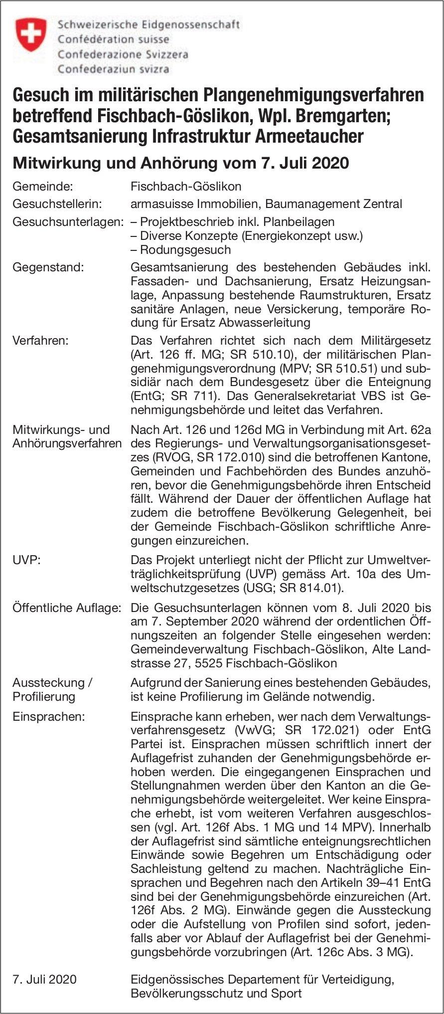 Gesuch im militärischen Plangenehmigungsverfahren betreffend Fischbach-Göslikon, Wpl. Bremgarten